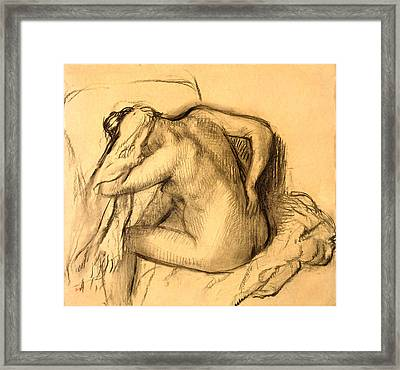 After The Bath Woman Drying Her Hair Framed Print