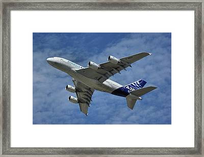 Framed Print featuring the photograph Airbus A380 by Tim Beach