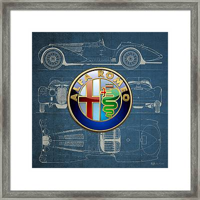 Alfa Romeo 3 D Badge Over 1938 Alfa Romeo 8 C 2900 B Vintage Blueprint Framed Print by Serge Averbukh