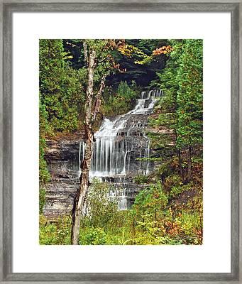 Alger Falls Framed Print by Michael Peychich