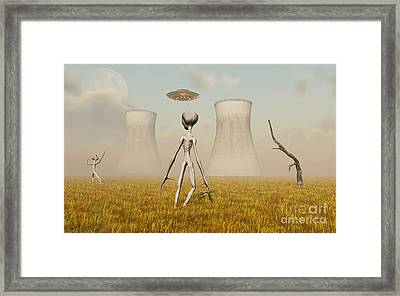 Alien And Ufo Activity At A Nuclear Framed Print by Mark Stevenson