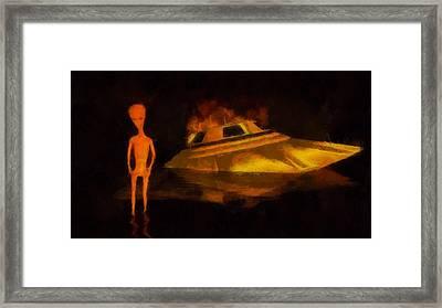 Alien Crash Framed Print by Esoterica Art Agency