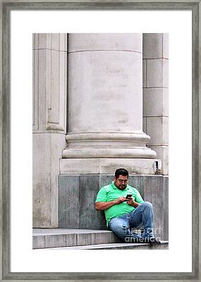 Alone With The Phone Framed Print