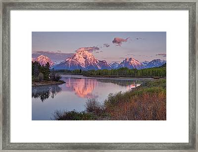 Alpenglow At Oxbow Bend Framed Print