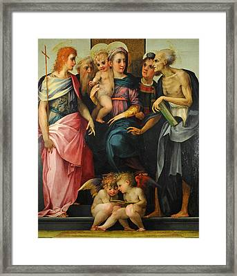 Altarpiece Of Santa Maria Nuova Framed Print by Rosso Fiorentino