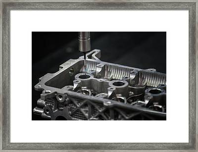 Aluminium Auto Part Inspection By Cmm Dimension Check Machine Framed Print by Anek Suwannaphoom
