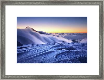 Amazing Foggy Sunset At Mountain Peak In Mala Fatra, Slovakia Framed Print