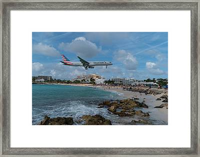 American Airlines Landing At St. Maarten Framed Print