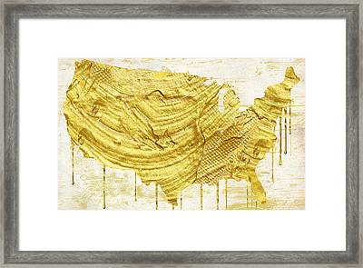 Gold American Map Framed Print by Mindy Sommers