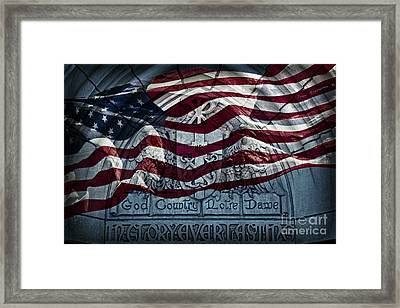 American Flag God Country Notre Dame In Glory Everlasting Framed Print by John Stephens