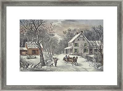 American Homestead   Winter Framed Print