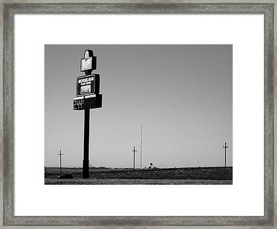 Framed Print featuring the photograph American Interstate - Kansas I-70 Bw 4 by Frank Romeo
