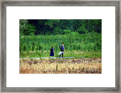 Amish Brother And Sister Framed Print by Randy Matthews