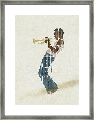 Framed Print featuring the digital art Miles Davis Typography Art by Inspirowl Design