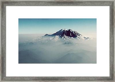 An Aerial View Of Mount Rainier Framed Print