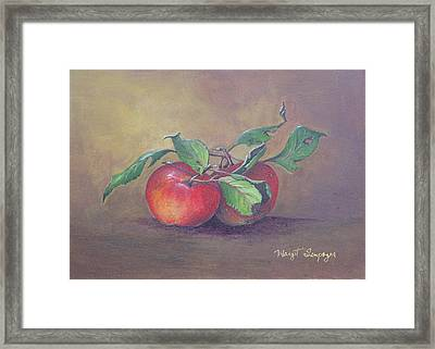 Framed Print featuring the painting An Apple A Day  by Margit Sampogna