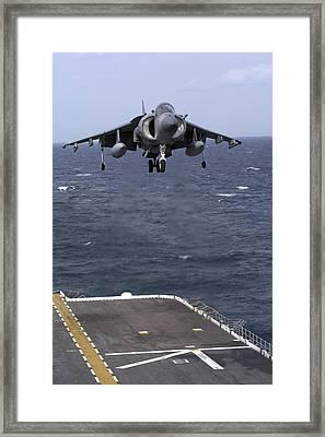 An Av-8b Harrier II Prepares To Land Framed Print by Stocktrek Images