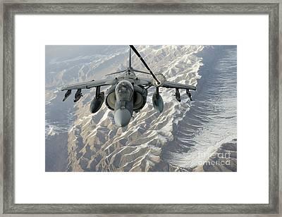An Av-8b Harrier Receives Fuel Framed Print