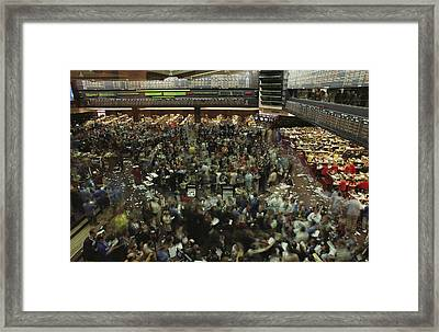 An Elevated View Of Traders Framed Print by Michael S. Lewis