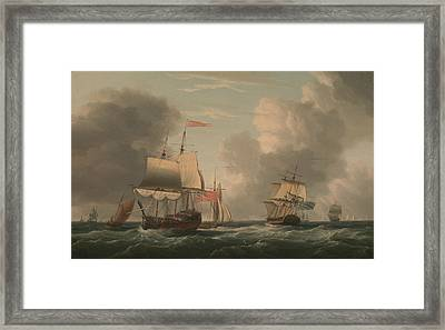 An English Two-decker Lying Hove To, With Other Ships And Vessels In A Fresh Breeze Framed Print