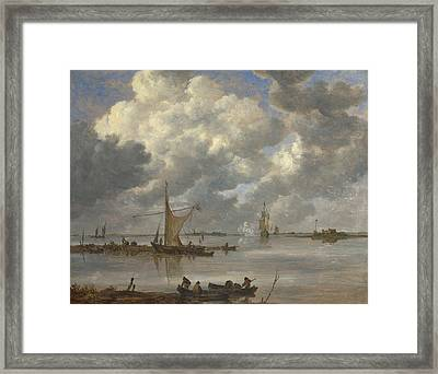 An Estuary With Fishing Boats And Two Frigates Framed Print