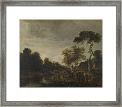 An Evening Landscape With A Horse And Cart By A Stream Framed Print by Aert van der Neer