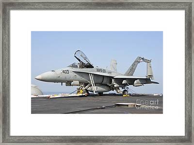 An Fa-18c Hornet On The Flight Deck Framed Print