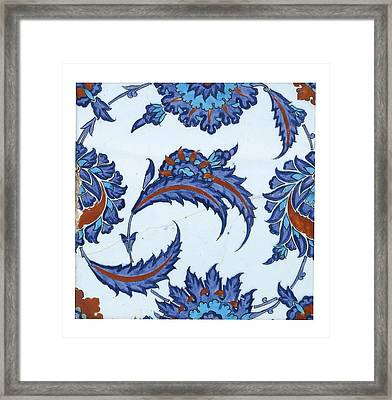 Framed Print featuring the pyrography An Iznik Polychrome Pottery Tile by Artistic Panda