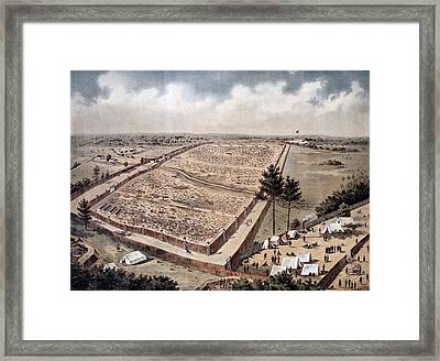 Andersonville Prison, Officially Known Framed Print by Vintage Design Pics