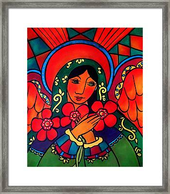 Framed Print featuring the painting Angel Of Peace by Jan Oliver-Schultz