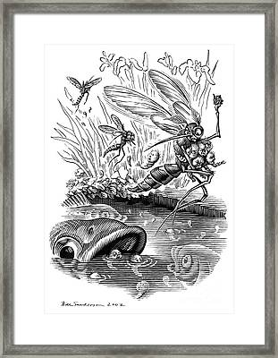 Angry Mosquitoes, Conceptual Artwork Framed Print