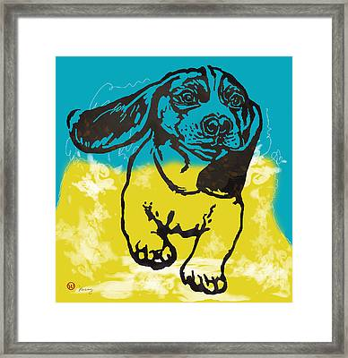 Animal Pop Art Etching Poster - Dog - 11 Framed Print by Kim Wang