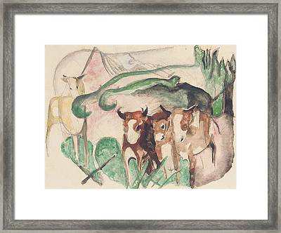 Animals In A Landscape Framed Print by Franz Marc