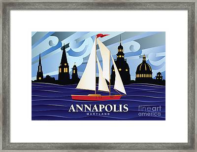 Annapolis Skyline Red Sail Boat Framed Print