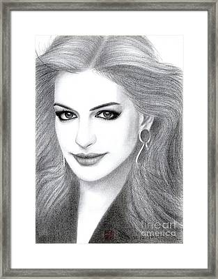 Framed Print featuring the drawing Anne Hathaway by Eliza Lo