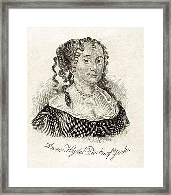 Anne Hyde Duchess Of York 1637-1671 Framed Print by Vintage Design Pics