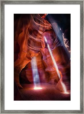 Antelope Canyon's Many Beams Framed Print
