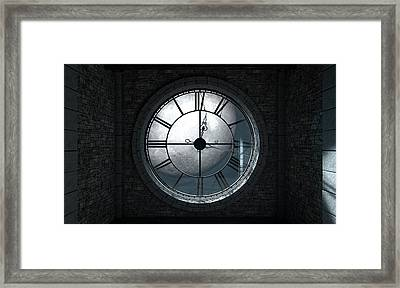 Antique Backlit Clock And Moon Framed Print by Allan Swart