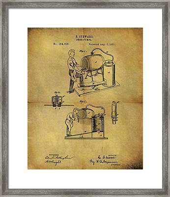 Antique Beer Pump Patent Framed Print