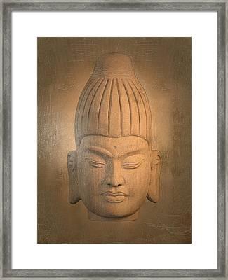 antique oil effect Buddha Burmese. Framed Print by Terrell Kaucher