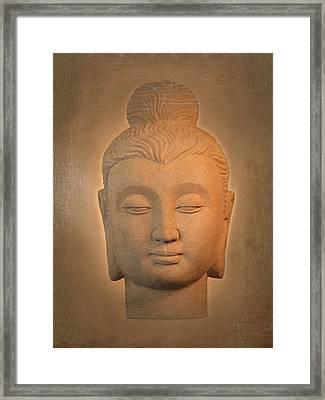 antique oil effect Buddha Gandhara. Framed Print by Terrell Kaucher