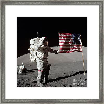 Apollo 17 Astronaut Salutes The United Framed Print by Stocktrek Images