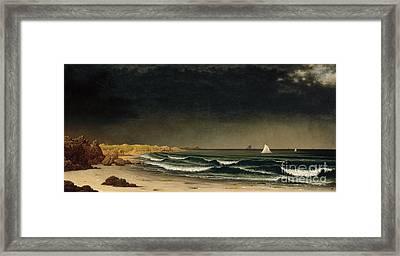 Approaching Storm - Beach Near Newport Framed Print