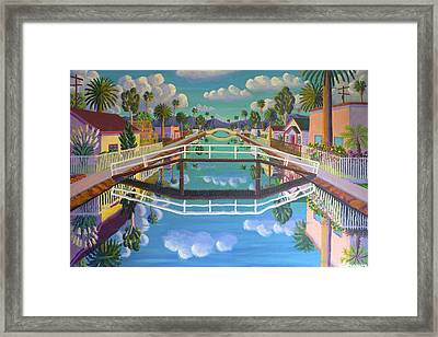 April On Retro Canal Framed Print