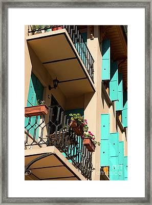 Aqua Shutters Framed Print