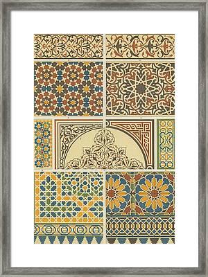Arabian-moresque, Mosaic Textile Pattern Framed Print