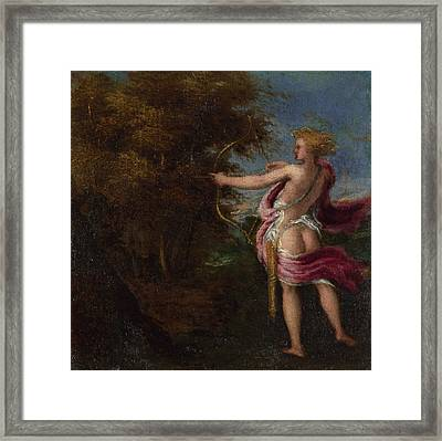 Arcas Hunting Framed Print by Andrea Schiavone