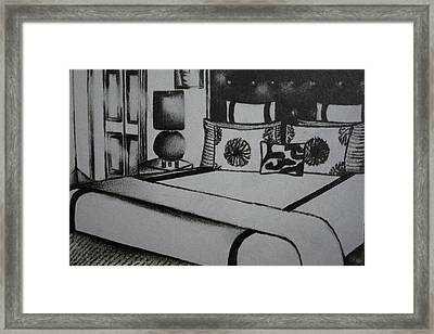 Architectural Bedroom Rendering  Framed Print by Stacey Abrams