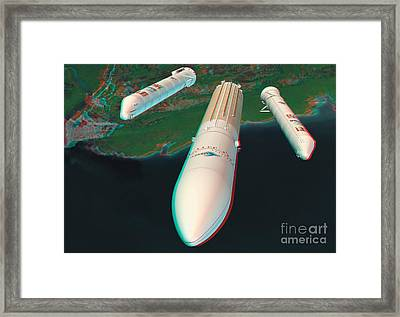 Ariane 5 Rocket Launch, Stereo Image Framed Print