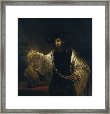 Aristotle With A Bust Of Homer Framed Print by Rembrandt